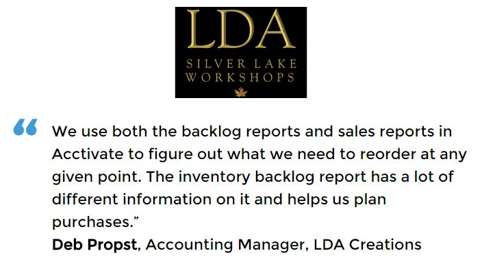 Acctivate inventory forecasting software user, LDA Creations