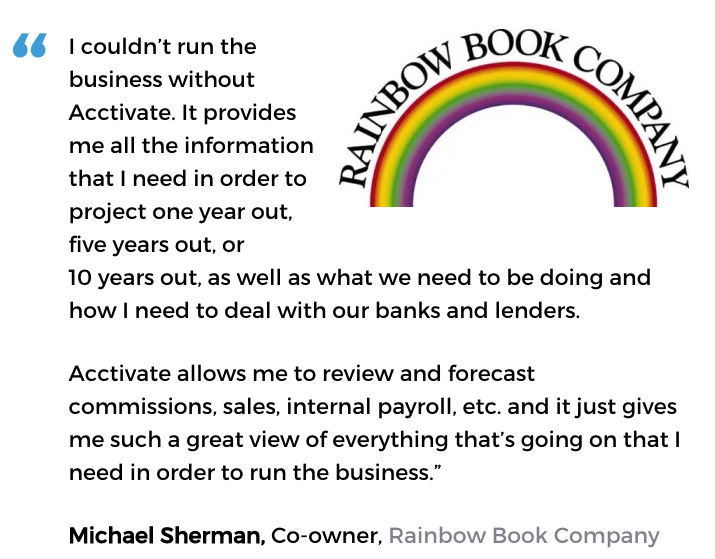 Acctivate inventory forecasting software user, Rainbow Book Company
