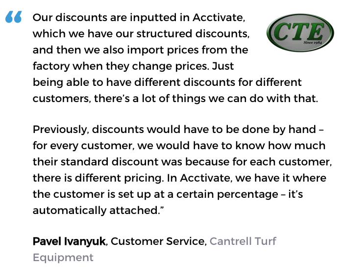 Acctivate inventory software with pricing tools user, Cantrell Turf Equipment