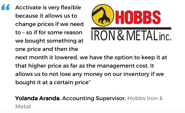 Acctivate inventory software with pricing tools user, Hobbs Iron & Metal