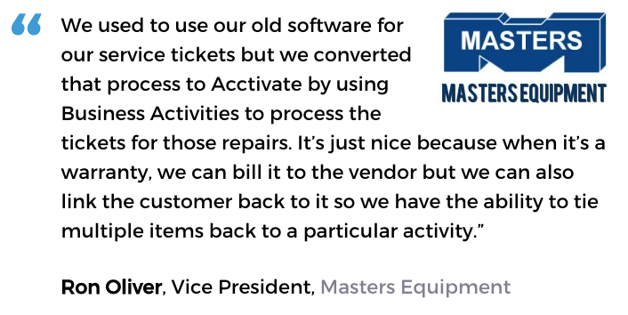 Acctivate inventory software with service management user, Masters Equipment