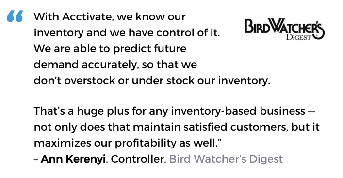 Acctivate publishing & book distribution software user, Bird Watcher's Digest