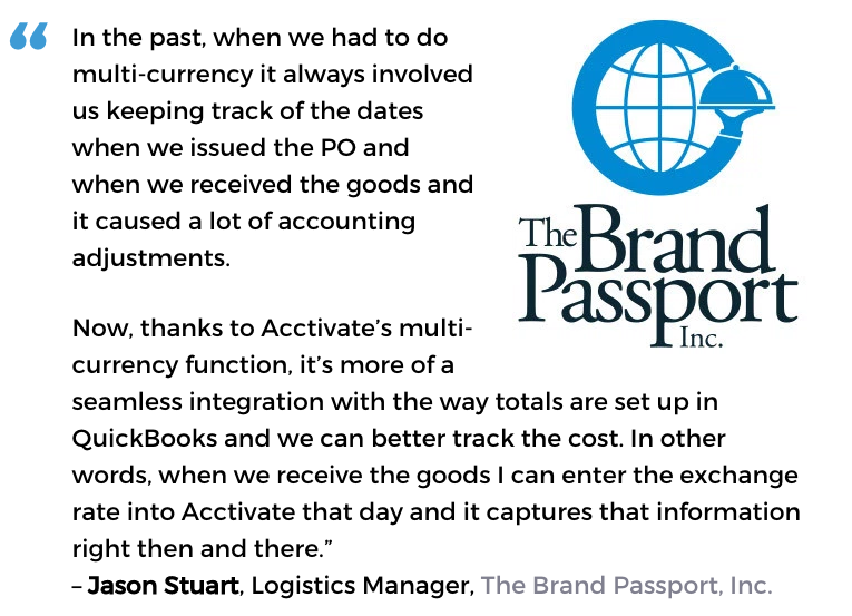 Acctivate procurement management system user, The Brand Passport