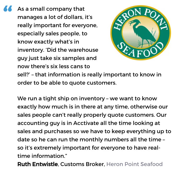Acctivate seafood software user, Heron Point Seafood
