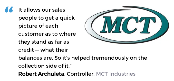 Acctivate inventory software with credit management user, MCT Industries