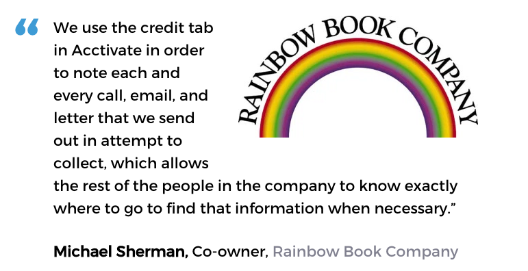 Acctivate inventory software with credit management user, Rainbow Book Company