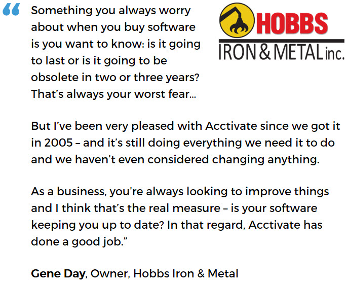 Hobbs Iron & Metal uses Acctivate to understand and grow their business