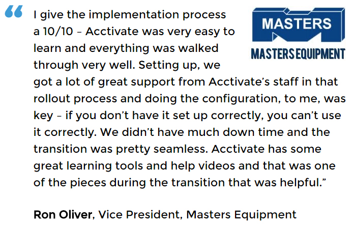 Inventory Management Software User - Masters Equipment