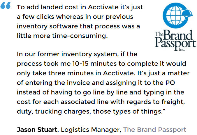 The Brand Passport uses Landed Cost in Acctivate