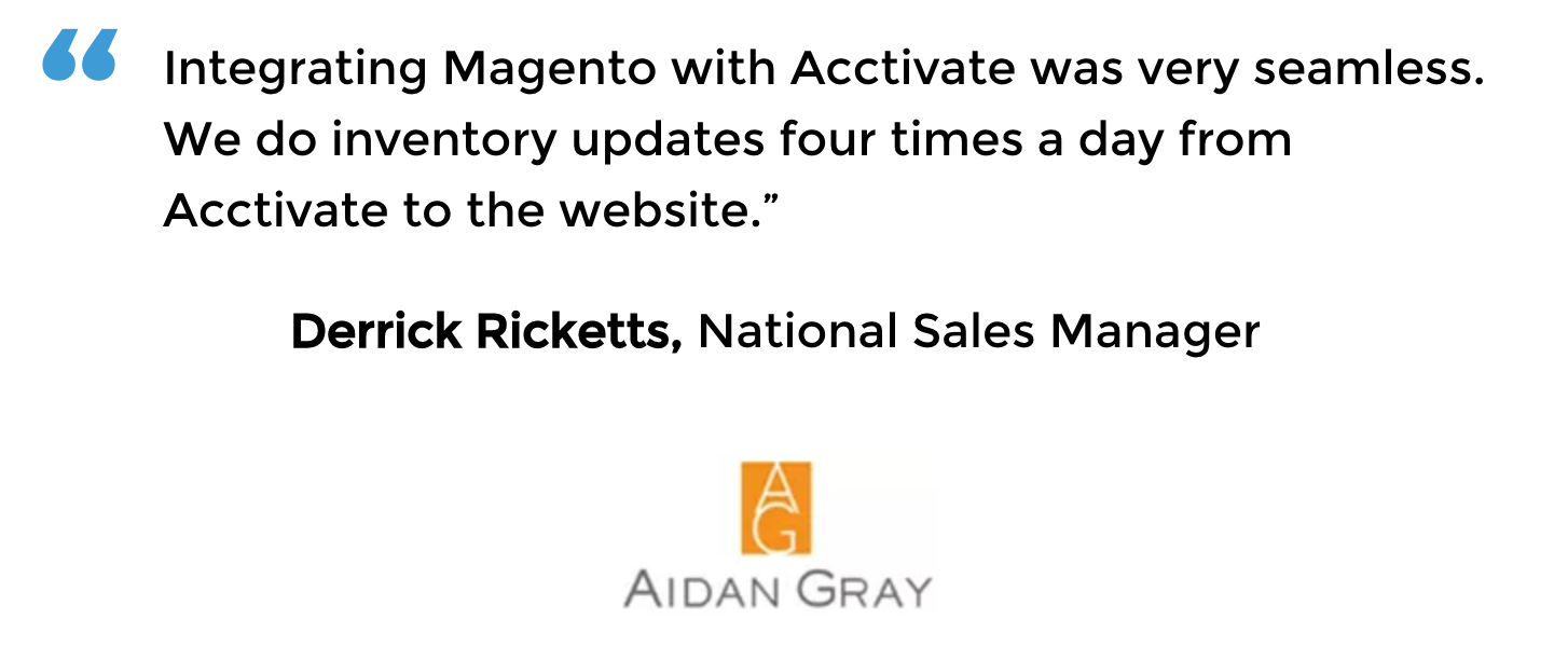 Magento inventory management user Aidan Gray