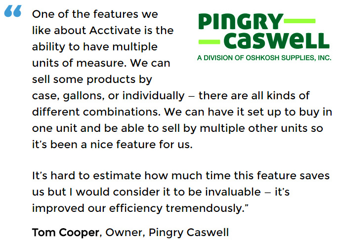 Mutiple Units of Measure Inventory Software User - Pingry Caswell