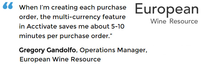 QuickBooks multi currencysoftware user - European Wine Resource