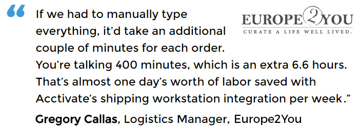 Shipping Workstation for order fulfillment user - Europe2You
