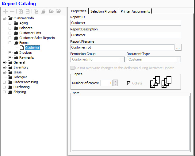 Inventory software with custom reports & documents: Organizing with report catalog
