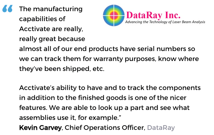 Acctivate inventory software with lot number tracking user, DataRay