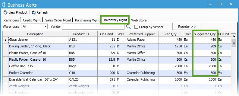 small business inventory control - reordering