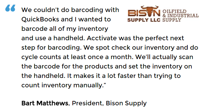 Acctivate inventory and barcoding software user Bison Supply