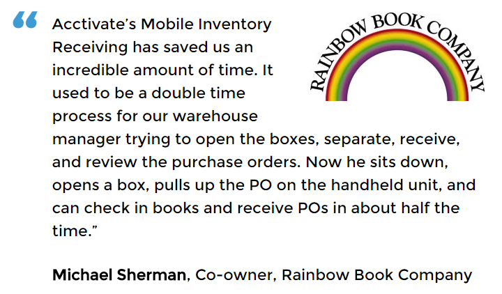 Acctivate inventory and barcoding software user Rainbow Book