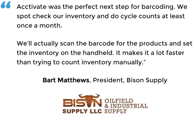 Bison Supply conducts inventory counts with a handheld unit for barcode inventory control