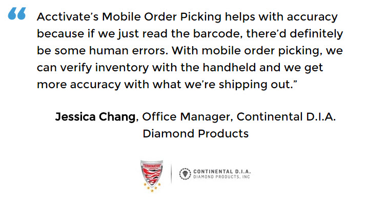 Acctivate Mobile Order Picking used by Continental D.I.A. Diamond Products