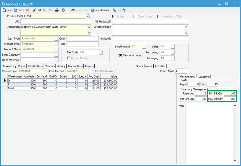 Warehouse inventory control with Minimum and Maximum Stock Quantities in Acctivate