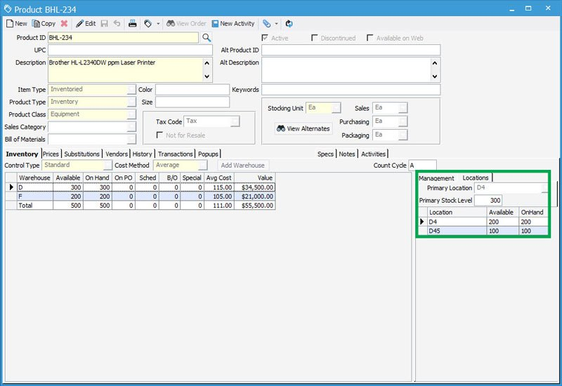 Warehouse inventory control with multiple location control in Acctivate