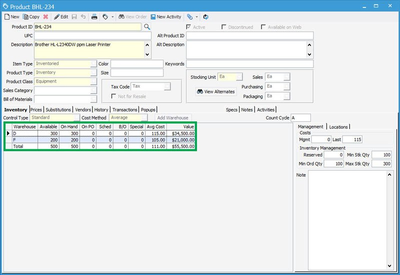 Warehouse inventory control with multiple warehouse control in Acctivate