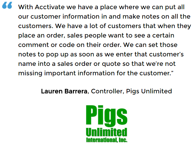 Manufacturing Control Software for Pigs Unlimited International