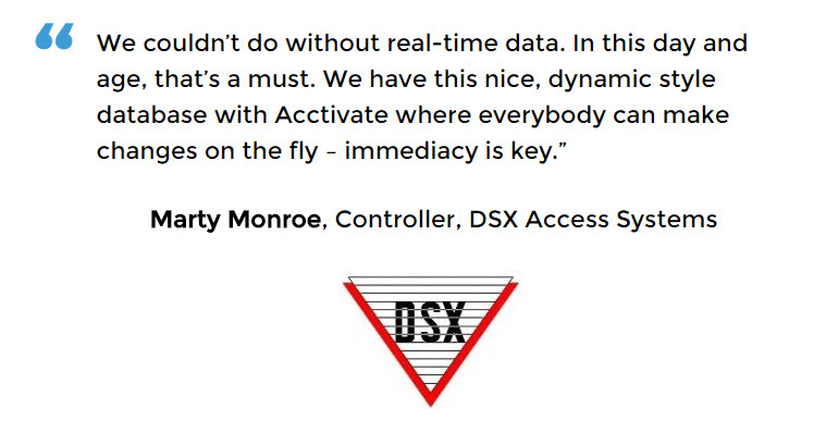 Manufacturing Control Software with real-time visibility for DSX Access Systems