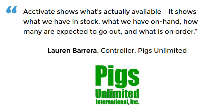 Pigs Unlimited is able to see real-time stock levels