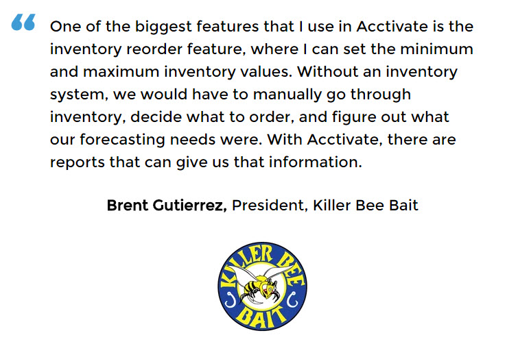 With software, Killer Bee Bait knows when stock levels are low