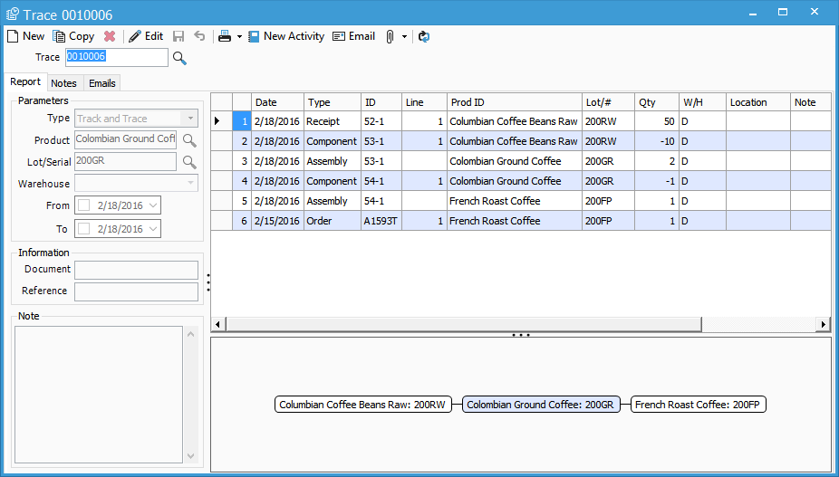 Traceability feature in Acctivate inventory tracking software for small business