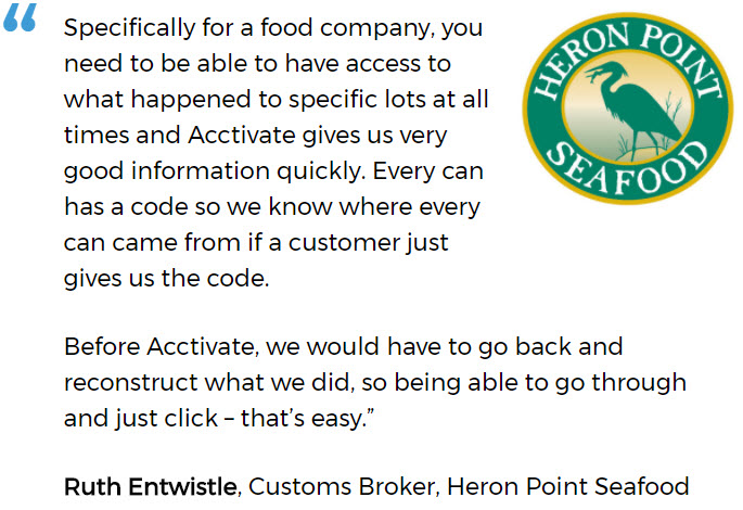 Heron Point Seafood uses an inventory system for small business with lot traceability