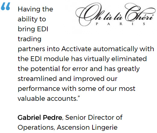 Ascension Lingerie uses an inventory system for small business with EDI