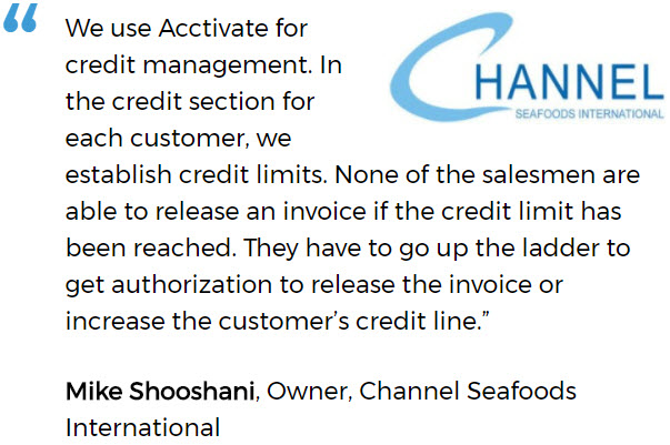 Channel Seafoods International uses an inventory system for small business with credit management