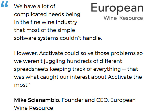 European Wine Resources uses an inventory system for small business
