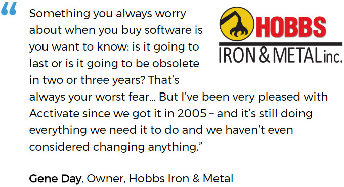Hobbs Iron & Metal Replaced Manual Inventory Tracking with Acctivate