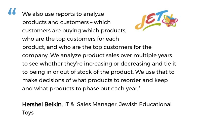 Jewish Educational Toys uses an inventory system for small business with decision support tools