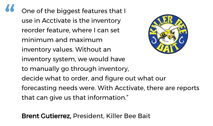 Killer Bee Bait uses an inventory system for small business with advanced purchasing