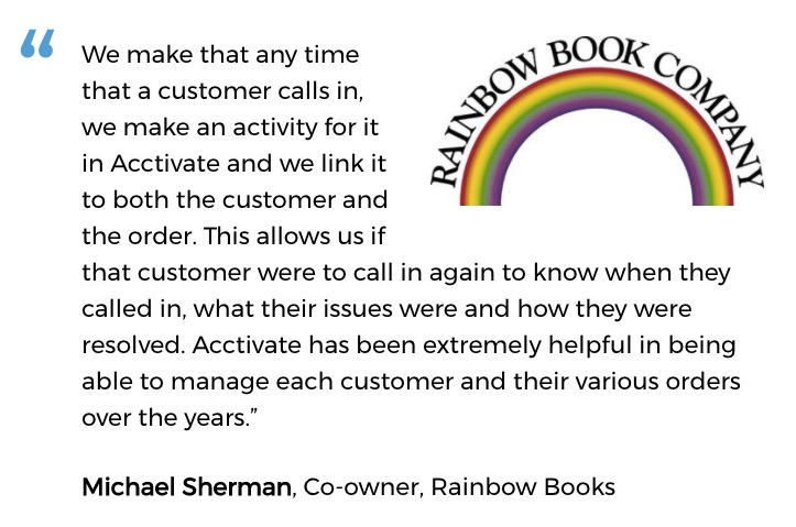 Rainbow Book Company uses an inventory system for small business with customer service tools