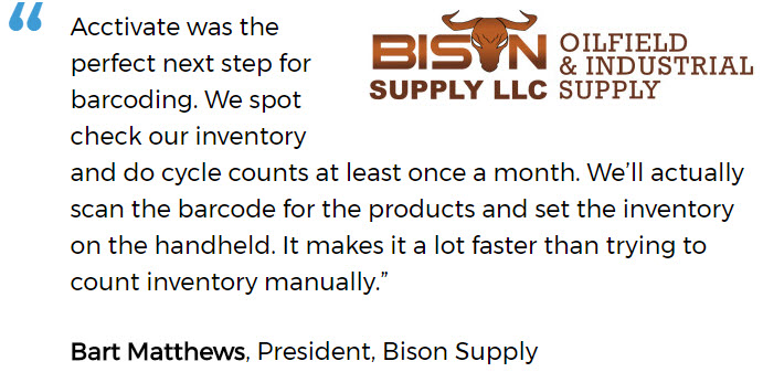 Warehouse barcoding software user, Bison Supply