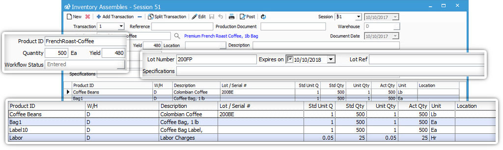 Batch Process Manufacturing in Acctivate Inventory Software