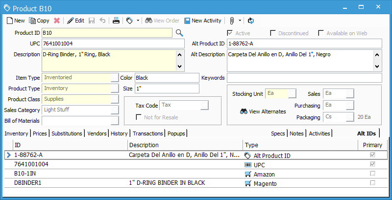 Multiple alternate product IDs for Acctivate 10.3