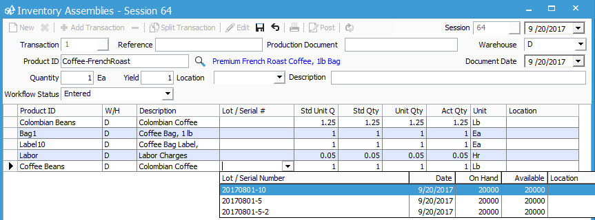 Improved assembly processes in Acctivate 10.3