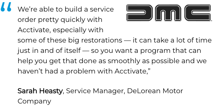 Acctivate inventory, service &  repair software user, DeLorean Motor Company