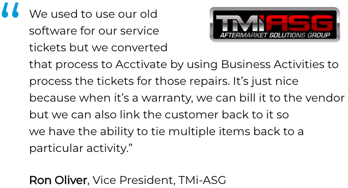 Acctivate inventory, service &  repair software user, TMi-ASG