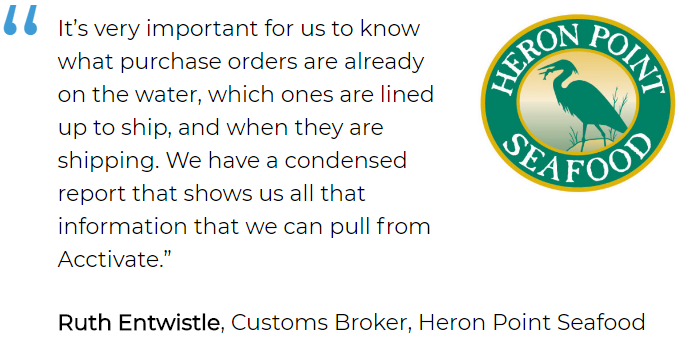 Order tracking software user: Heron Point Seafood