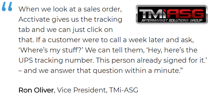 Inventory and order tracking software user, TMi-ASG