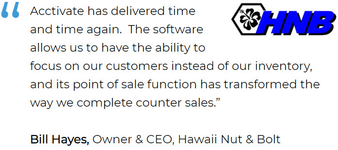 Supply chain and inventory management software user: Hawaii Nut & Bolt