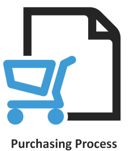 Purchasing Process shopping cart invoice with title